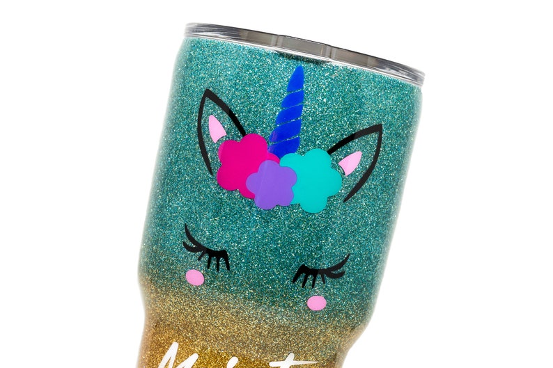 Teal and Gold glitter ombre Majestic AF Unicorn YETI Ozark