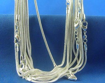 """SUPER SALE Sterling Silver Plated Snake Necklace Chain - 1.2mm Thick - Pick Size 16"""" through 30"""" - Lobster Clasp - Stamped"""