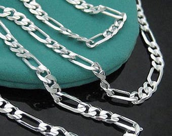 """SUPER SALE Sterling Silver Plated FIGARO Necklace Chain - 1.5mm Thick - Pick Size 16"""" through 30"""" - Lobster Clasp - 925 Stamped"""