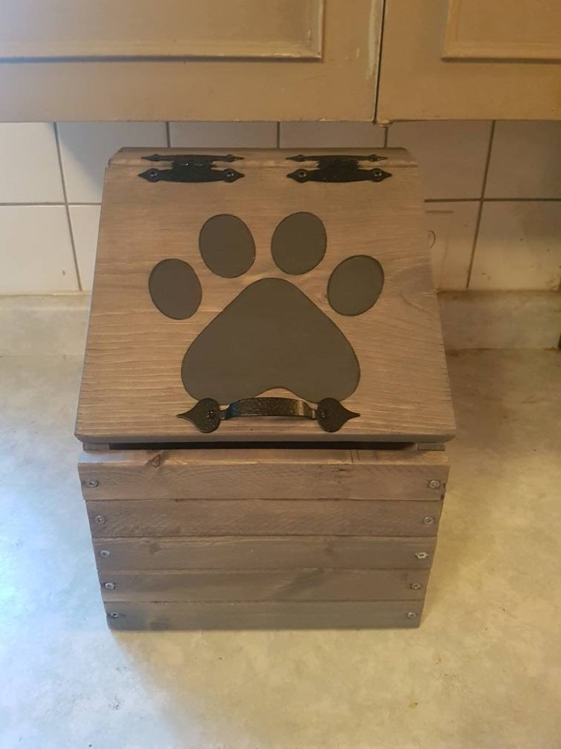 Mini Wooden Pet Food Storage Container Cat Food Bin Dog Food Bin Pet Food Keeper Puppy Food Storage Kitten Food Storage