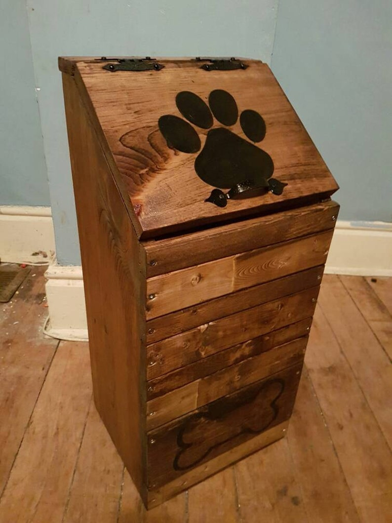 Wooden Dog Food Storage Container Dog Food Bin Pet Food Keeper Puppy Food Storage