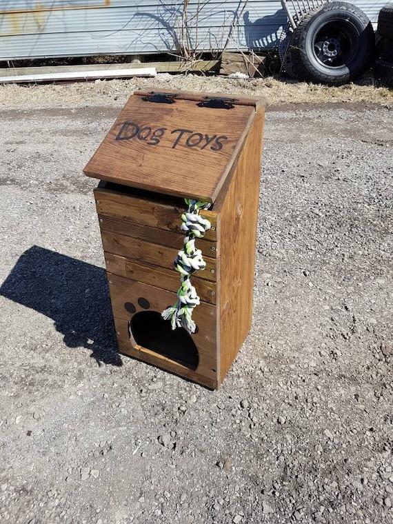 Wooden Dog Toy BoxNatural Pine Dog Toy BoxDog ToysDog StorageDog GiftBone Handles Toy Box