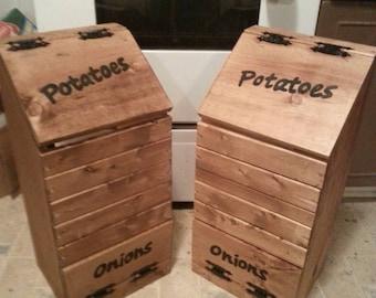 wooden potato & onion bin / vegetable storage / potato bin / onion bin / vegetable box wooden potato and onion bin