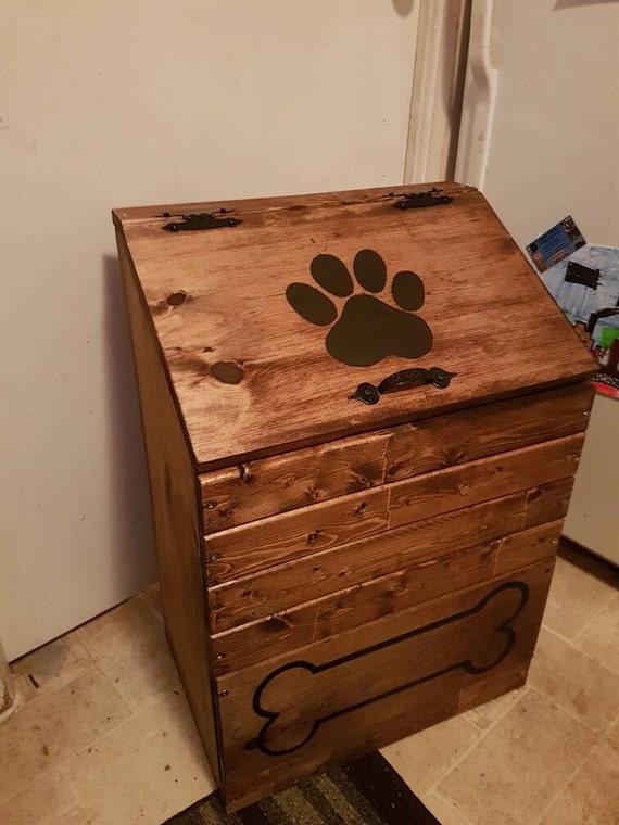 Large Wooden Dog Food Storage Container Dog Food Bin Pet Etsy