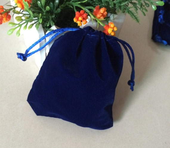 654f0fb498ca9d 50 royal blue 9 x 12 cm velvet bags jewellery pouches small | Etsy