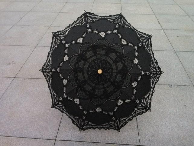 black New Vintage Lace Umbrella Handmade Cotton Embroidery Battenburg  Lace  Umbrella Wedding Decoration