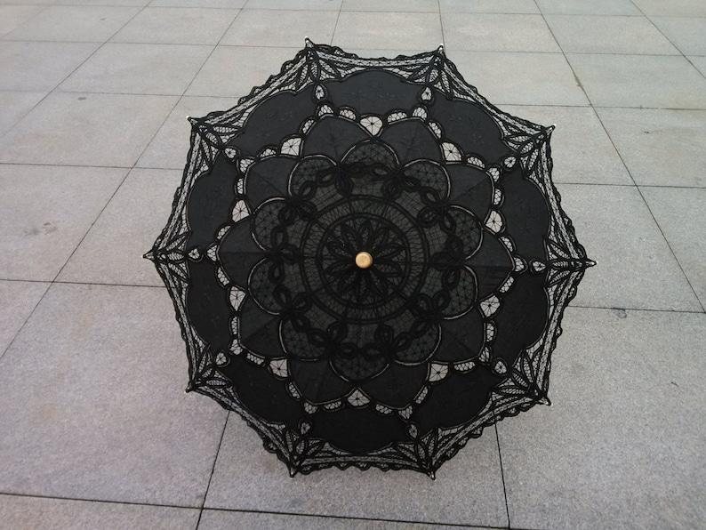 black New Vintage Lace Umbrella Handmade Cotton Embroidery image 0