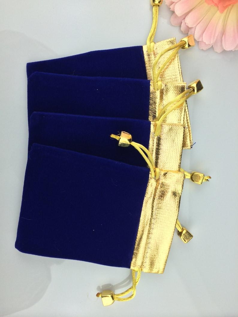caf404504c09a3 50 pcs gold top royal blue velvet bags jewellery pouches 9 x | Etsy