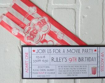 movie theater birthday invitation etsy