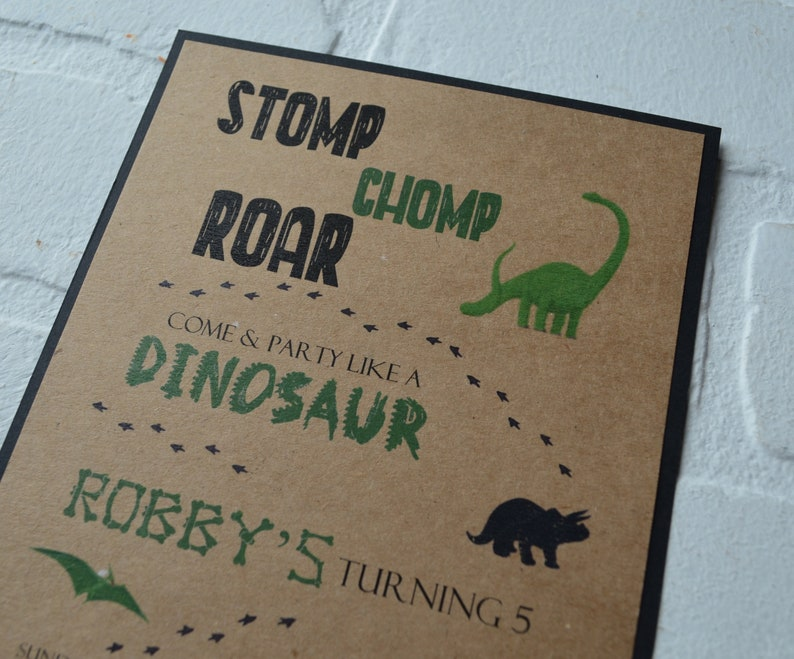 DINOSAUR birthday party invitation birthday invite T rex image 3