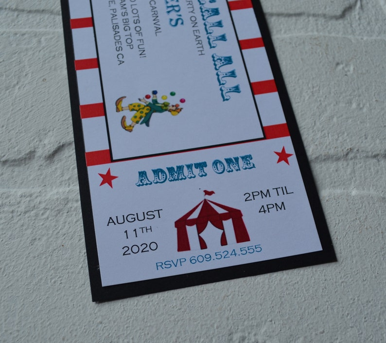 CIRCUS Ticket invite  circus theme  Birthday Party kids image 3