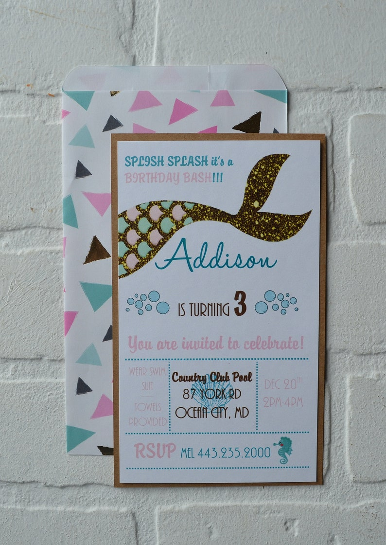 MERMAID BIRTHDAY invite mermaid tail theme card Birthday Party image 0