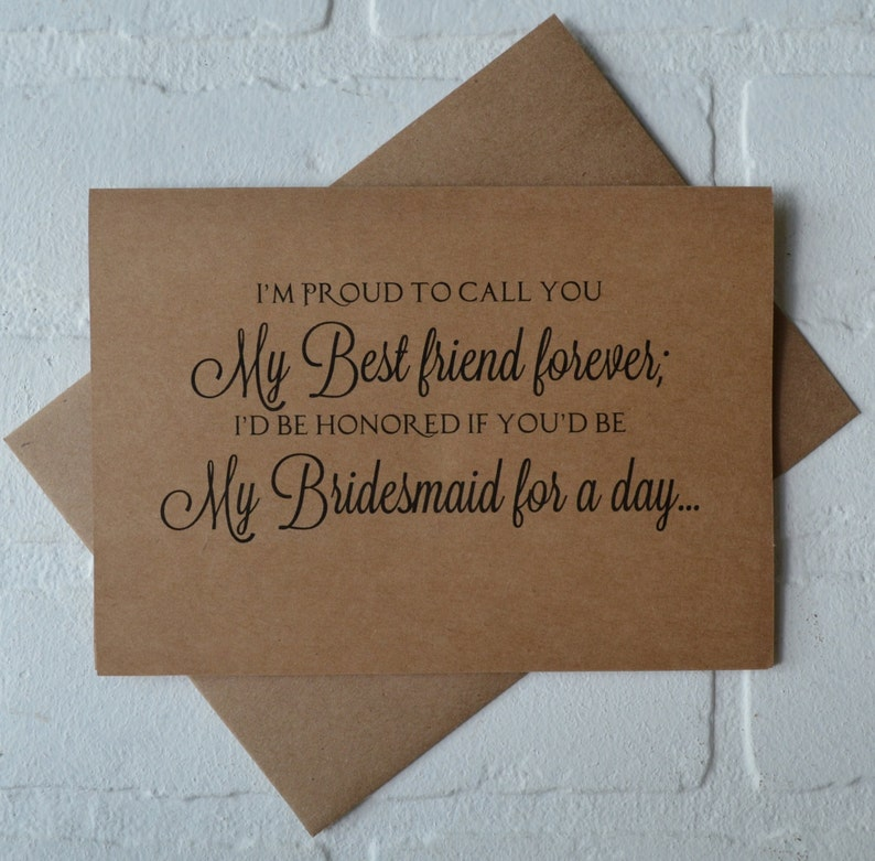 Im Proud To Call You My Best Friend Forever Bridesmaid Card Etsy