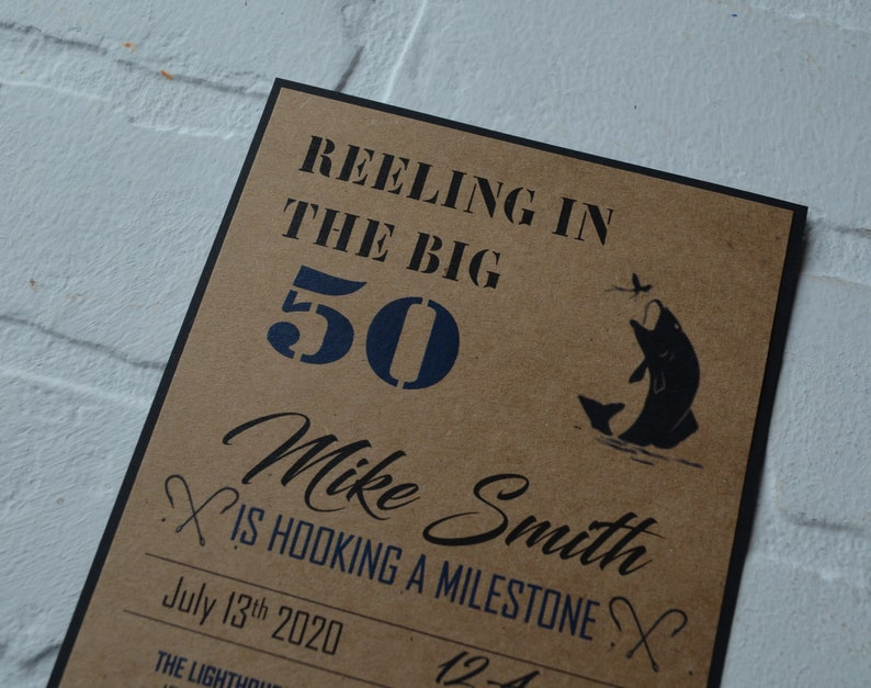 REELING in the BIG 50 fishing birthday invitation birthday image 2
