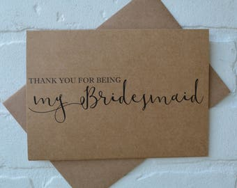 THANK YOU for being my BRIDESMAID card bridal party thank you wedding party cards bridesmaid card bridal party thanks card thank you cards