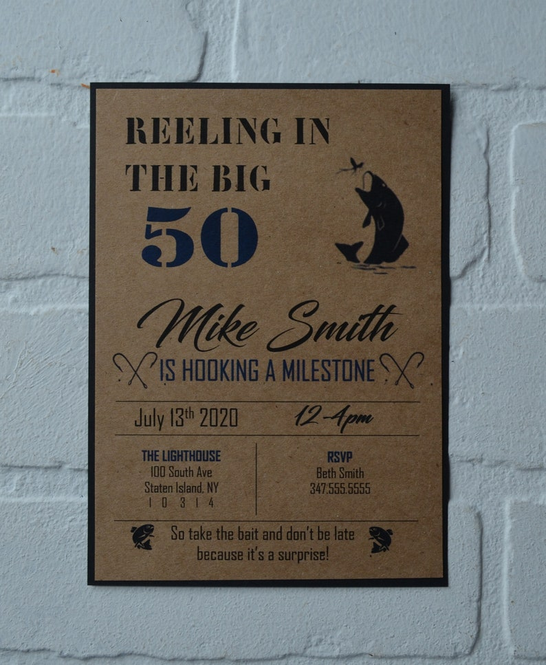 REELING in the BIG 50 fishing birthday invitation birthday image 1
