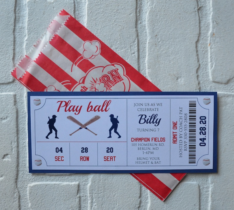 BASEBALL Ticket invite  baseball theme  Birthday Party boy image 0