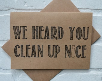 We heard you CLEAN up NICE will you be our OFFICIANT Card Funny wedding party card Invitation will you marry us priest card minister card