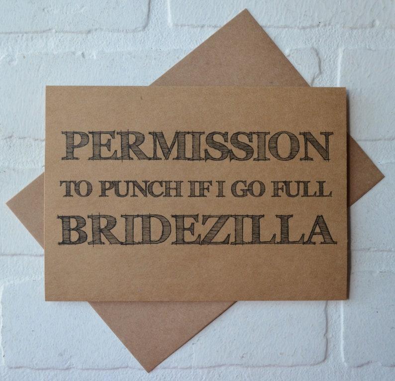 PERMISSION to PUNCH if I go BRIDEZILLA be my bridesmaid cards funny bridesmaid card kraft funny sarcastic bridal proposal card kraft wedding