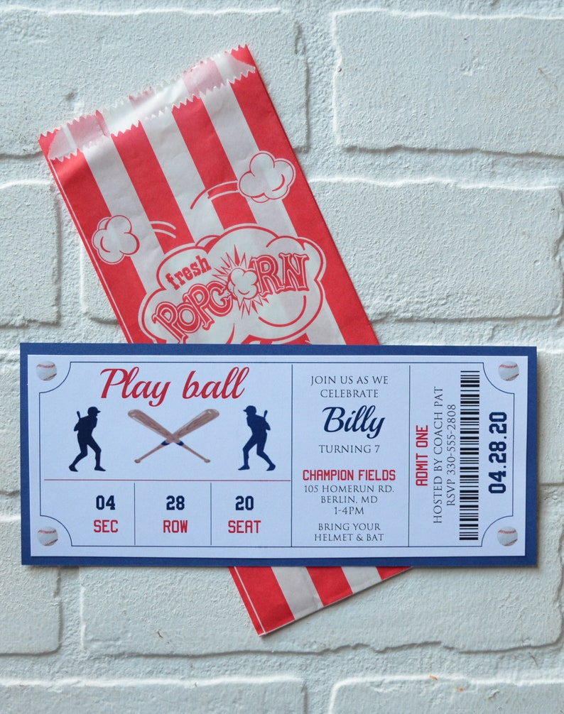 BASEBALL Ticket invite  baseball theme  Birthday Party boy image 7