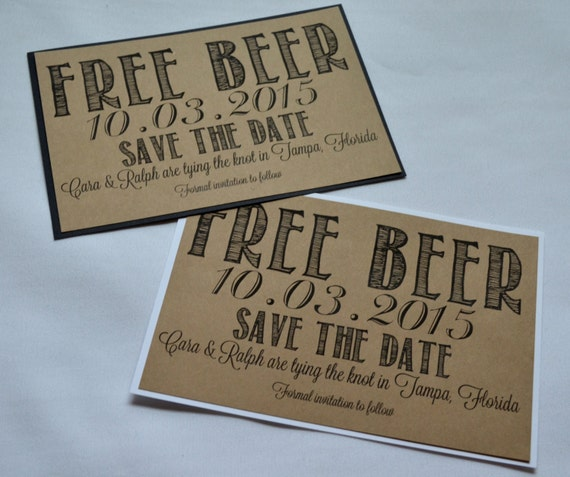 free beer save the date cards funny kraft rustic save the date etsy