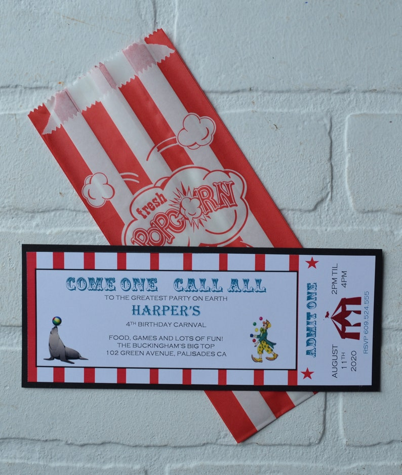 CIRCUS Ticket invite  circus theme  Birthday Party kids image 0