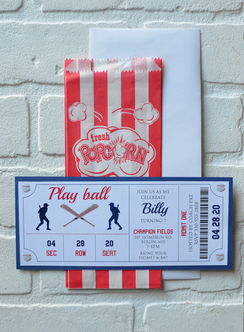 BASEBALL Ticket invite  baseball theme  Birthday Party boy image 2