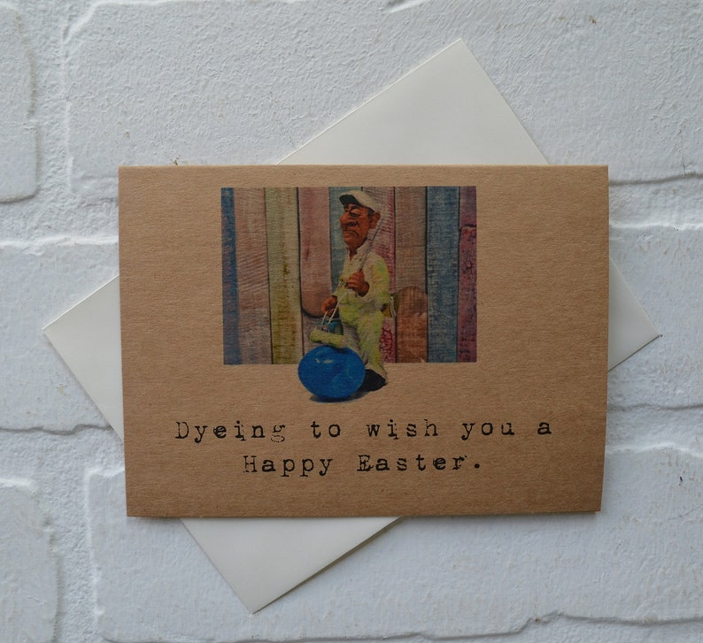 DYEING TO WISH you a Happy Easter card funny easter greeting image 0