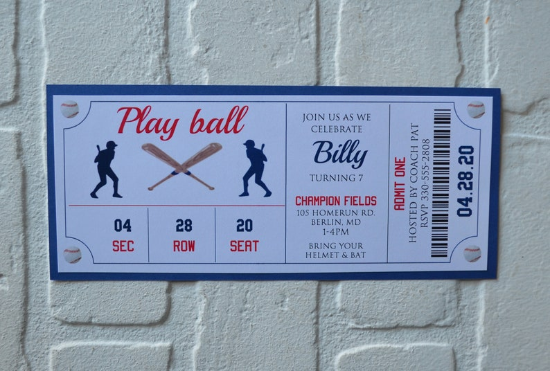 BASEBALL Ticket invite  baseball theme  Birthday Party boy image 1