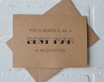 Your service is requested as a groomsman Will you be my best man groomsman Card Funny wedding party best man groomsman Invitation card