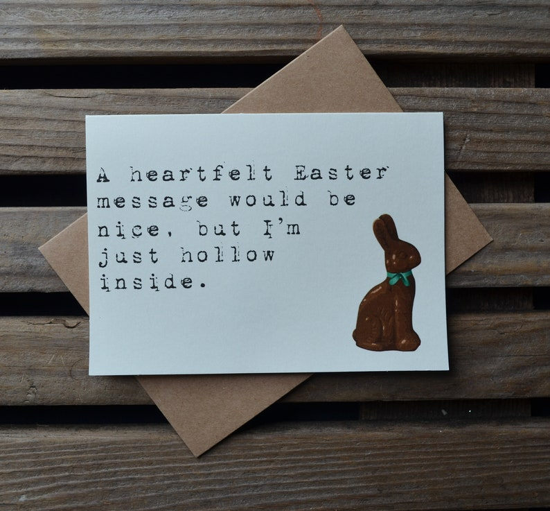 HOLLOW INSIDE chocolate bunny easter card Happy Easter card image 0