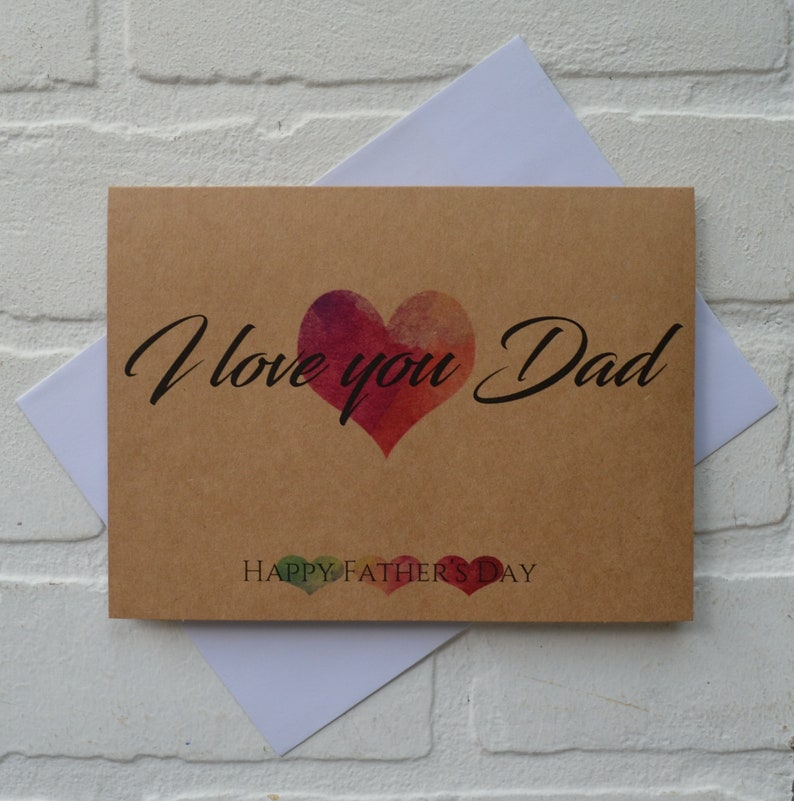 I LOVE YOU DAD watercolor hearts Father's Day card happy image 0