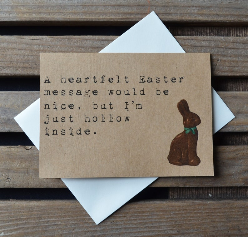HOLLOW INSIDE chocolate bunny easter card Happy Easter card image 3