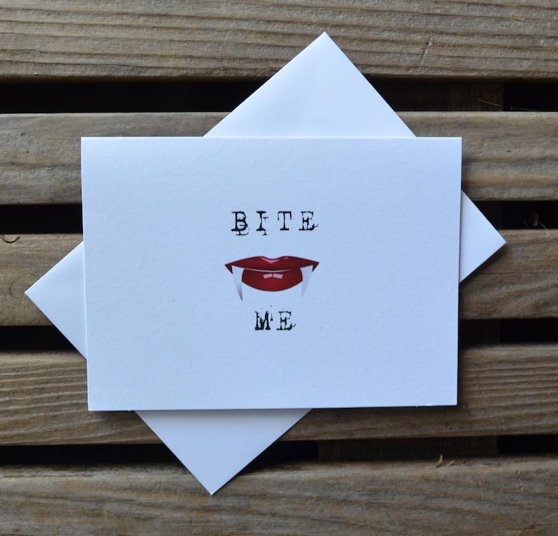 BITE ME Halloween love card funny card halloween card image 1
