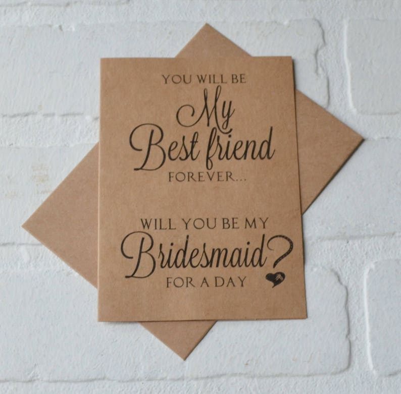 You Will Be My Best Friend Forever Maid Of Honor Card Etsy