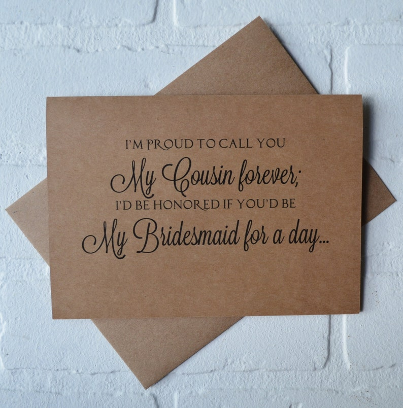 Im PROUD to call you my COUSIN forever bridesmaid Card