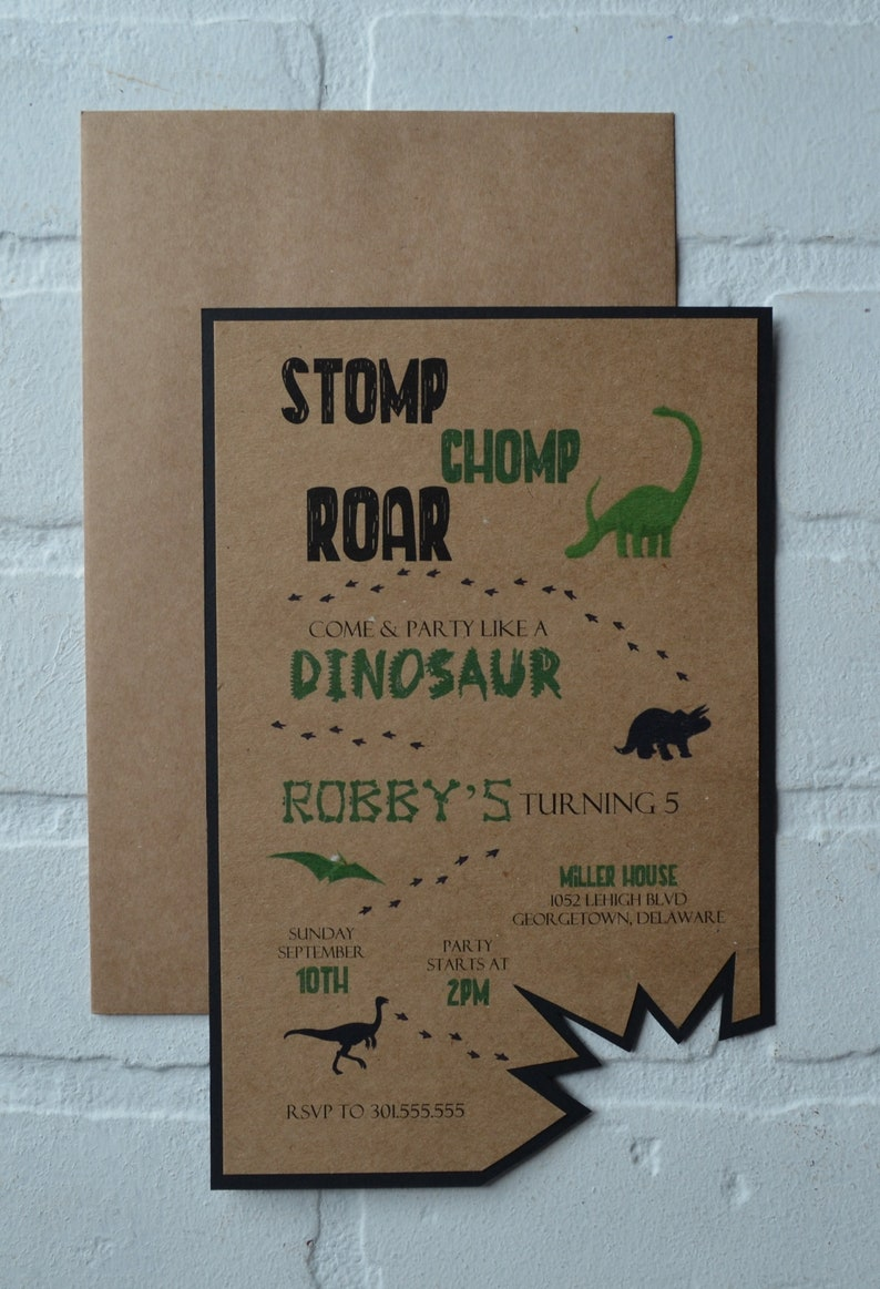 DINOSAUR birthday party invitation birthday invite T rex image 0