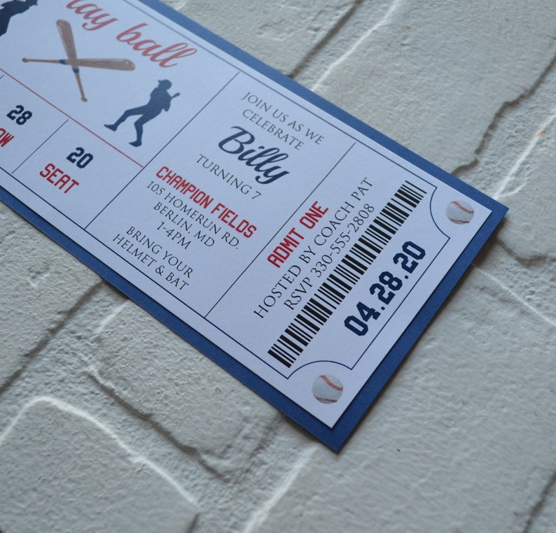BASEBALL Ticket invite  baseball theme  Birthday Party boy image 3