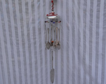 Whimsical Repurposed Earth Friendly Brass Goblet Flatware Wind Chime WC-048