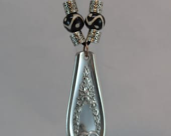 Repurposed Silver Plated Spoon Handle Necklace with Black and White Beads SHN-01