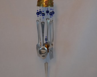 Repurposed Small Brass Goblet Wind Chime with Blue Glass Beads WC-59