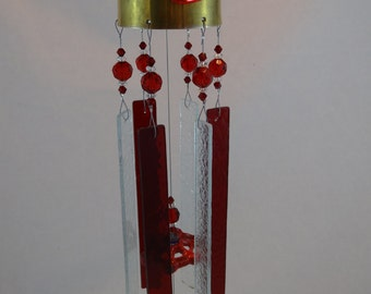 Repurposed Brass Goblet Red and Clear Glass Wind Chime WC-035