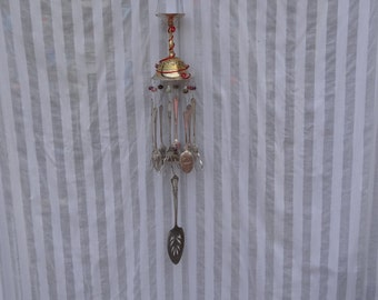Whimsical Repurposed Brass Goblet Silver Plated Flatware Wind Chime WC-047