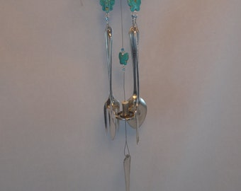 Repurposed Demitasse Wind Chime with Turquoise Butterfly Beads WC-51