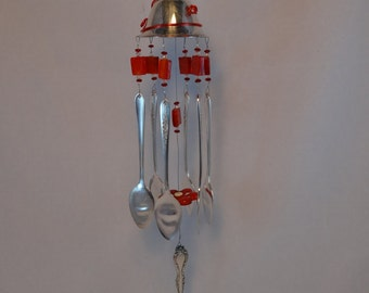 Repurposed Silver Plated Goblet Wind Chime with Red Glass Beads WC-56
