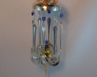 Whimsical Silver Plated Blue Beads Silver Plated Flatware Wind Chime WC-040