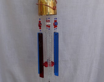 Whimsical, Handmade,  Recycled Patriotic Red, White (clear) and Blue Stained Glass Wind Chime WC-07