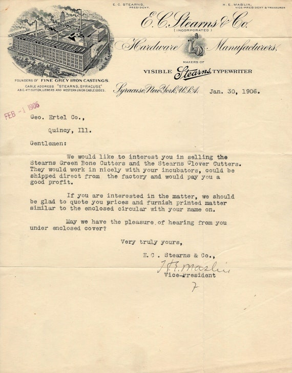 1906 STEARNS TYPEWRITER LETTERHEAD Antique Illustr