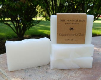 100% Organic Extra-Virgin Coconut Oil Handmade Soap, Cold Process, Unscented, VEGAN