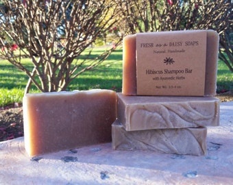 Hibiscus Shampoo Bar, Handmade Cold Process Soap, 100% Natural, VEGAN, Ayurvedic Shampoo Bar - Curing Now, Ready to ship 6/29